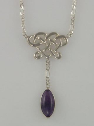 Silver knot Amethyst drop necklace 5x7